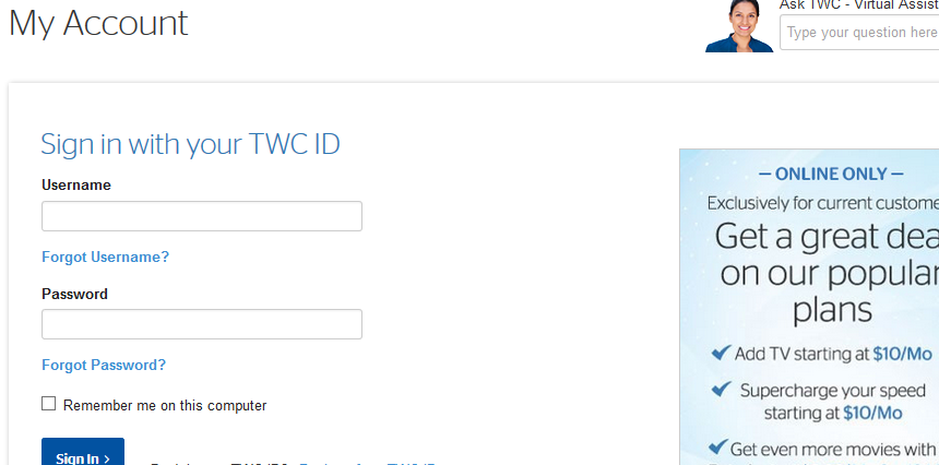 time warner cable bill payment access page img