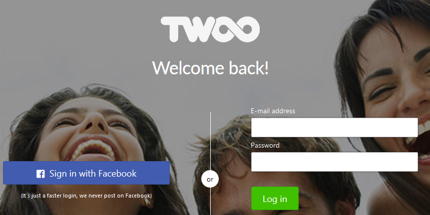 image of twoo.com's sign in page