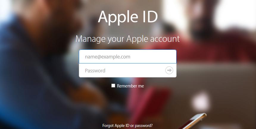apple id homepage view