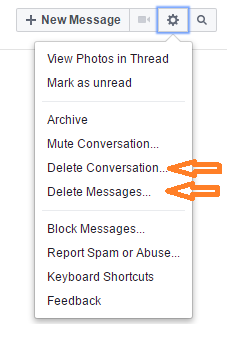 facebook delete conversation and delete messages link image