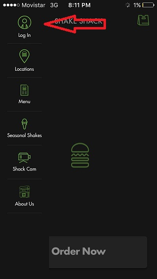 shake shack log in button ios app image