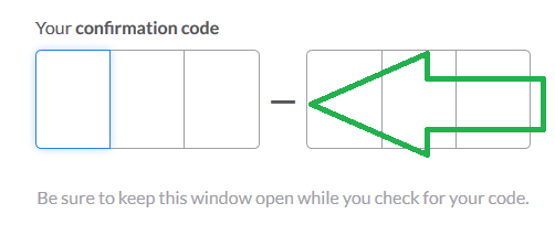 slack confirmation code field img