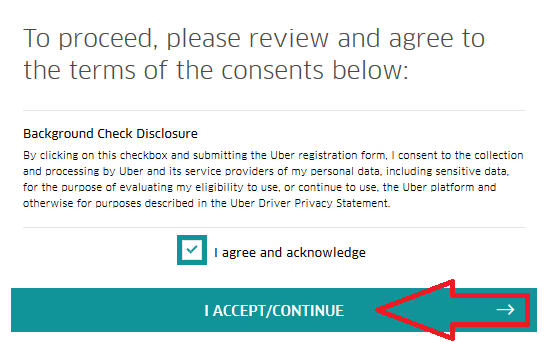 uber driver registration form i accept and continue button image
